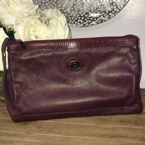 Vintage Gucci large leather clutch burgundy